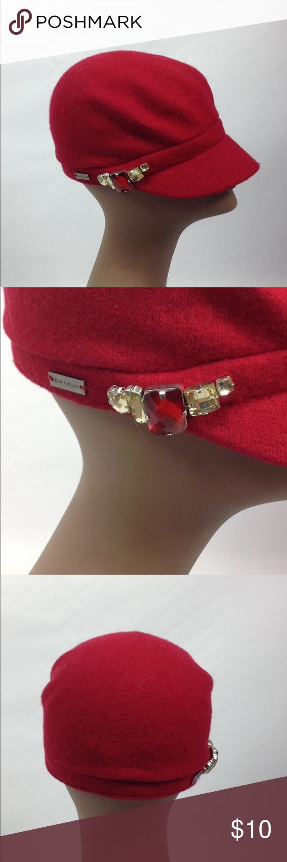 Betmar New York Red Wool Hat with Jewels Bet mar red hat has 5 jewels on the sid…