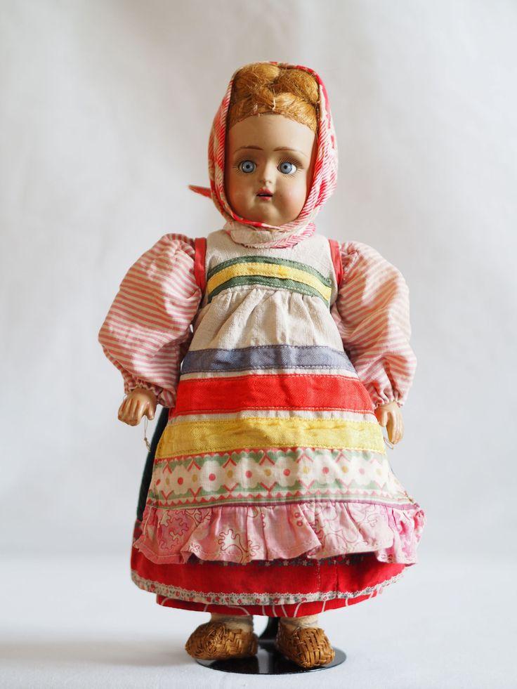 русская антикварная кукла, в переднике-завеске, Дунаев.