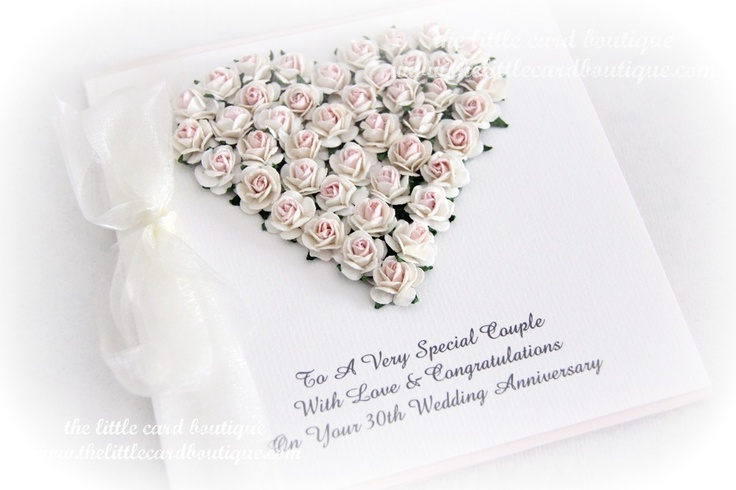 Wedding anniversary paper roses heart card www.thelittlecardboutique.com.au