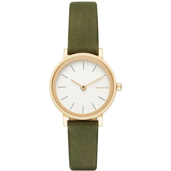 Skagen Women's Hald Green Leather Strap Watch 26mm SKW2495 (475 BRL) ❤ liked on Polyvore featuring jewelry, watches, green, skagen, anchor jewelry, green jewelry, green watches and skagen watches