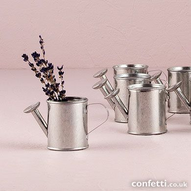 Miniature Metal Watering Cans http://www.confetti.co.uk/shop/product/miniature-metal-watering-cans