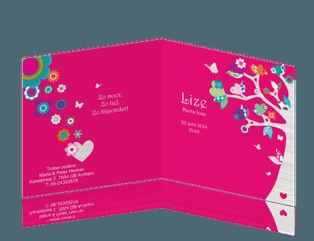 """Wil je een bijpassend kraamborrelkaartje bij dit geboortekaartje? Klik hier voor een <a class=""""mmsublink"""" href=""""/extra/uitnodiging-kraamfeest/kraamfeest-uitnodiging-meisje-hartjes-bloemen-roze-boom-hout"""" target=""""_blank"""">bijpassend kraamfeestkaartje</a> Let op, bewerk kaartjes niet tegelijk!"""