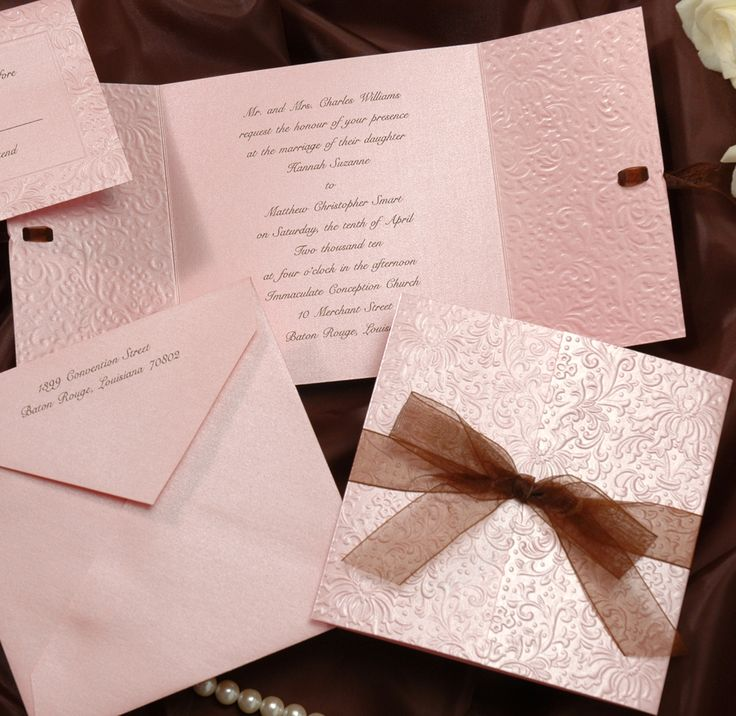 tie ribbon wedding invitation%0A This square gatefold invitation is heavily embossed pink stardream paper  with a matching pink stardream envelope
