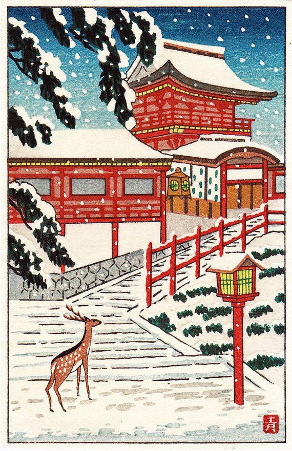 Japanese Woodblock Print Deer in Snow
