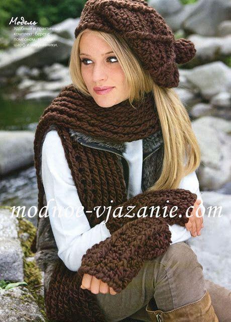 Crochet gold: Hat, scarf, mitten! CROCHET Free Pattern