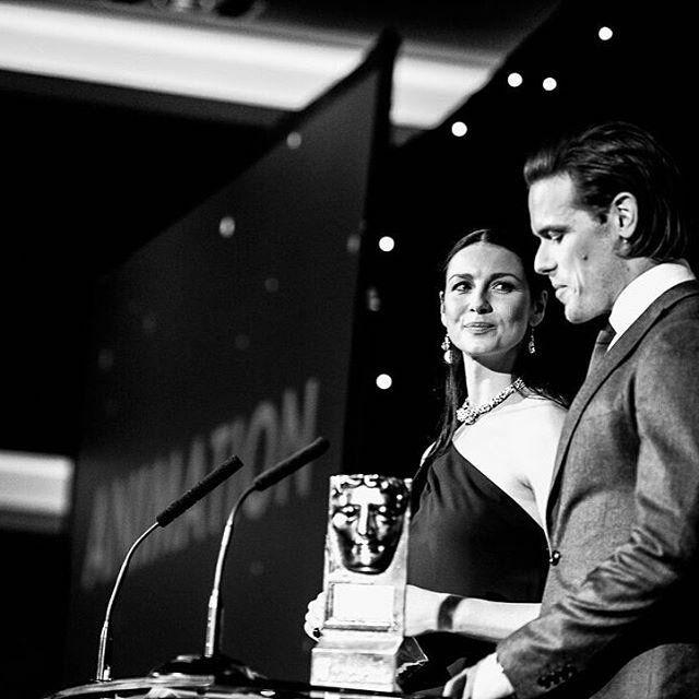caitriona&sam presenting a award at the 2016 scotland baftas