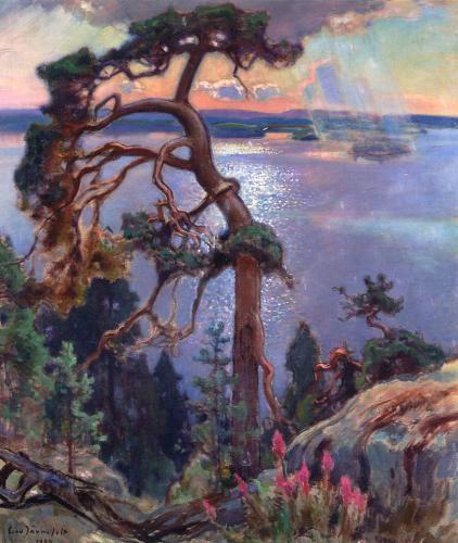 EERO JARNEFELT Scenery from Koli - Erityisesti Koli-maisemistaan ja kaskiaiheistaan tunnettua Järnefeltiä kiehtoivat myös poutapilvien kuohkeus (teostietokannassa on 203 kpl pilviaiheista teosta) ja kalliomäntyjen jylhät piirteet (211 kpl). Pohjois-Karjalan Koli-vaaran maisemia on tiedossa 122 kpl. Rakkaat perheenjäsenet olivat niin ikään usein taiteilijan malleina (313 kpl).