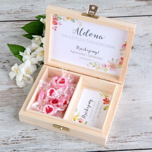 PREZENT dla Świadkowej w drewnianym pudełku Wild Flowers