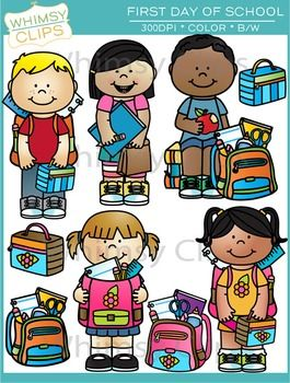 The First Day of School clip art set contains 18 images, which includes 9 color images and 9 black & white images in png. All images are 300dpi for better scaling and printing.