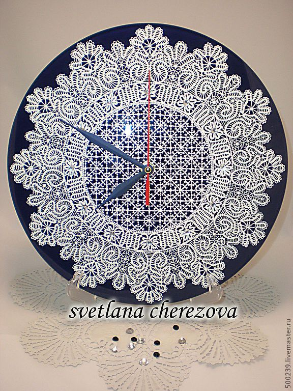"""Купить Часы """"Кукарское кружево"""" - часы настенные, часы настенные из стекла, часы интерьерные, кружево"""