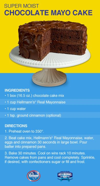 Mayonnaise Chocolate Cake Mike LOVED this cake!It was so moist and rich. I just used Betty Crocker chocolate frosting with it.  JW