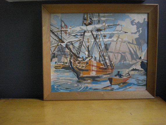 Out on the Sea II  Vintage Paint by Number by HappyGoVintage, $35.00