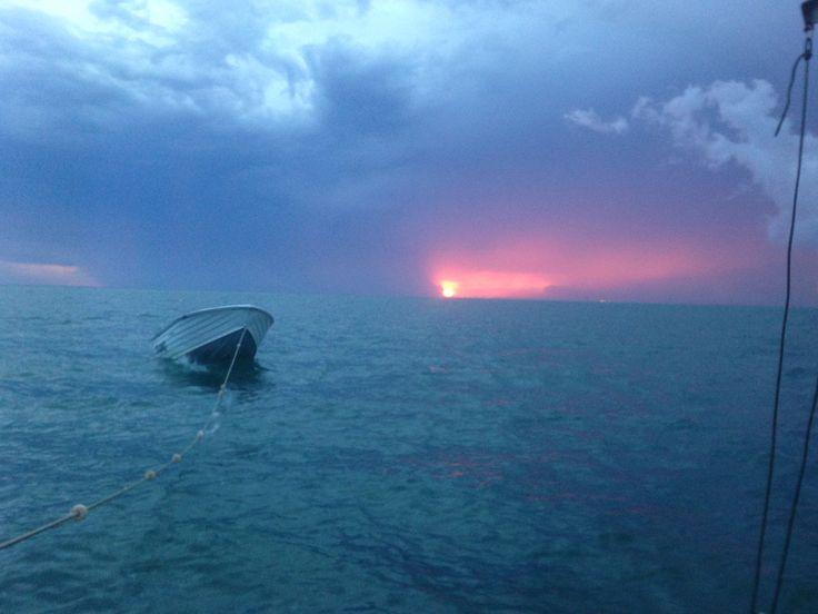 Sunset storm over Brisbane #moretonbay #moretonisland
