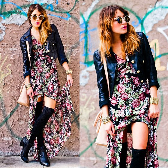 The Reformation Villa Floral Maxi Dress, Quay Eyewear Fleur Sunglasses In Gold, Adidas X Fafi Cropped Leather Jacket, Madison Harding Olivia Cut Out Booties, Jennifer Fisher Jewelry Bullet Cuff, Gold & Gray Spike Pendant Necklace