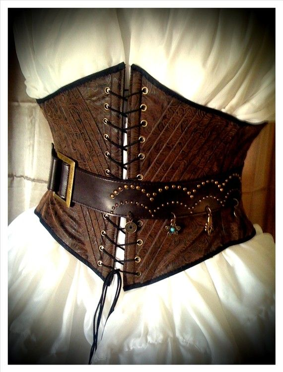 Pirate Wench Faux Tooled Leather Underbust waist Corset by Sarlume, $70.00
