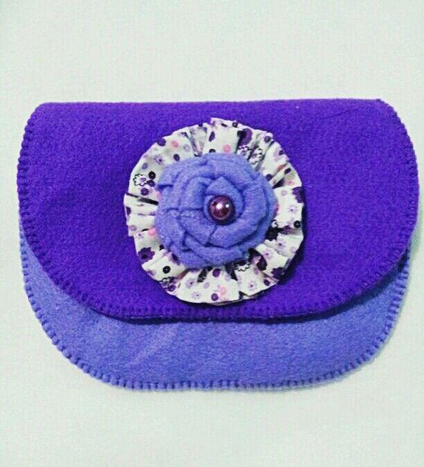 Felt purse purple