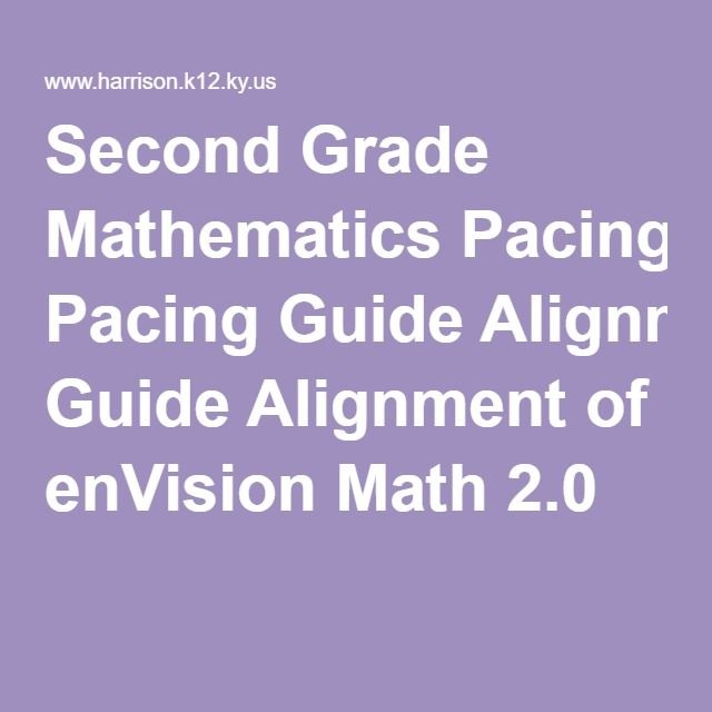 Second Grade Mathematics Pacing Guide Alignment of enVision Math 2.0