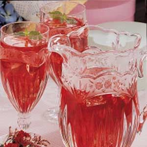 Victorian Iced Tea Recipe:   Ingredients: 4 individual tea bags  in 4 cups boiling water.       . Cover and steep for 5 minutes. Remove and discard tea bags.   Chill.  Just before serving combine   1 can (11-1/2 ounces) cranberry-raspberry juice concentrate, thawed   and   4 cups cold water in a 2-1/2 qt. pitcher. Add Ice cubes and fresh mint  .