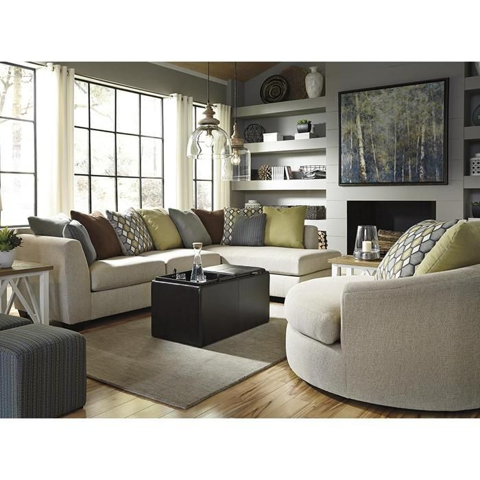 Casheral 2-Piece Sectional And Chair In Linen