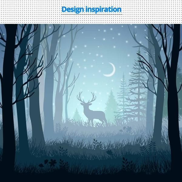 Papercut Light Boxes The Deer In The Deep Forest At Night Night Forest Deep Forest Forest Painting