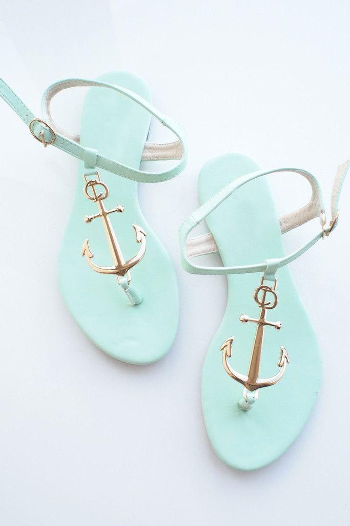 Minty Green Nautical Golden Anchor Sandals – Goodnight Macaroon