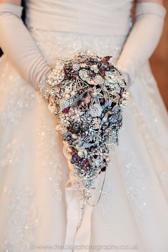 Large cascading fantasy wedding brooch bouquet, brides jewel bouquet, broach bouquet, harry potter wedding, lord of the rings wedding fairy