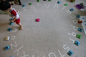 ABC floor circle game - this would work outside too