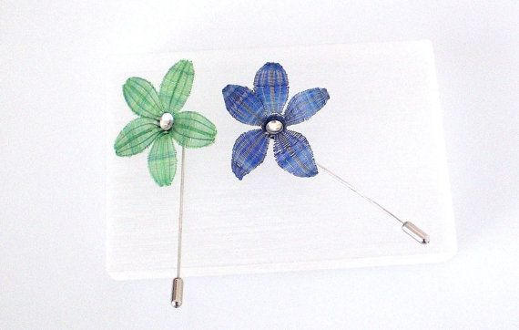 Silver Lapel Pin - Flower Brooch - Horse Hair