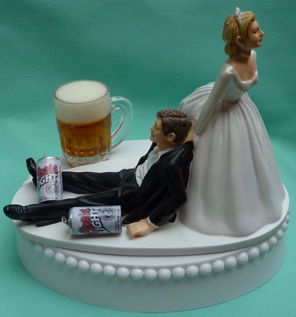 Wedding Cake Topper Coors Light Beer Drinking Mug Cans By
