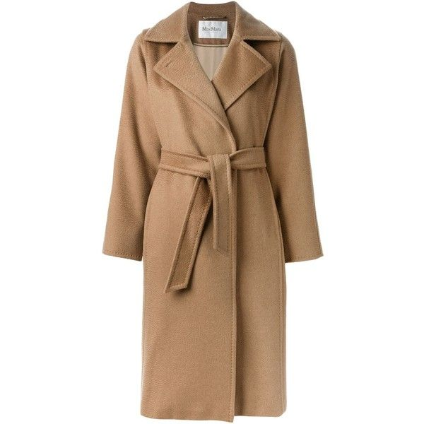 Max Mara belted overcoat (1,925 CAD) ❤ liked on Polyvore featuring outerwear, coats, jackets, belted coat, brown overcoat, brown coat, maxmara and over coat
