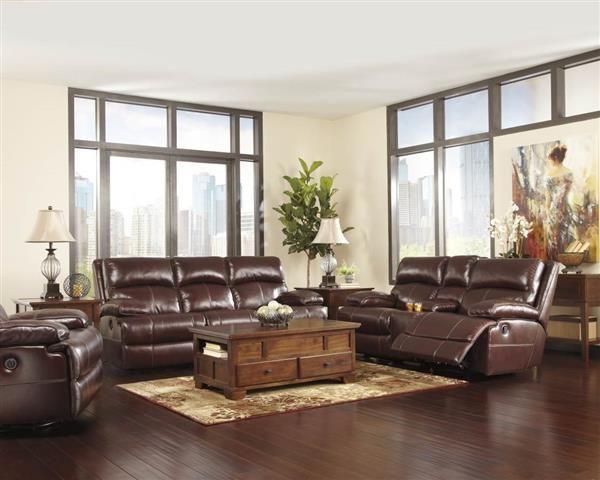 Lensar Burgundy Leather Living Room Set