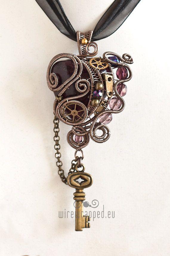 Purple steampunk heart pendant with key