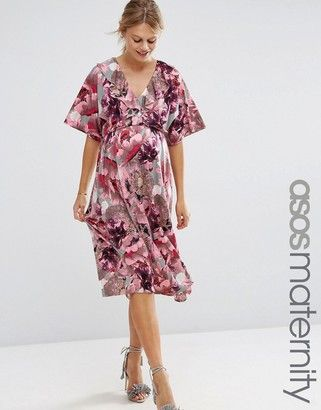 Asos Maternity Pink And Grey Iris Soft Midi Swing Dress
