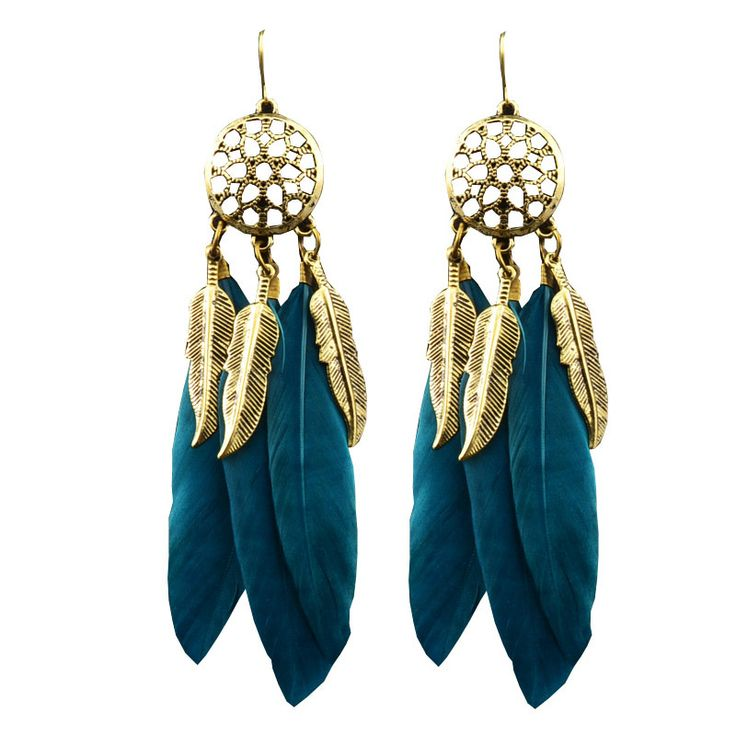 New fashion jewelry feather dangle tassel earring mix color gift for women girl wholesale E3035