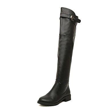 bottes d'équitation talon plat sur les bottes au genou avec des chaussures de boucle femmes - EUR € 27.97