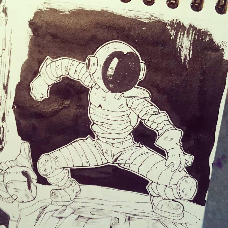 #draw #dibujo #ilustration #ilustracion #doodle #garabato #men #hombre #sketch #sketchbook #blackandwhite #blancoynegro #artoftheday #sketchoftheday #characterdesign #diseñopersonaje #astronaut #comic