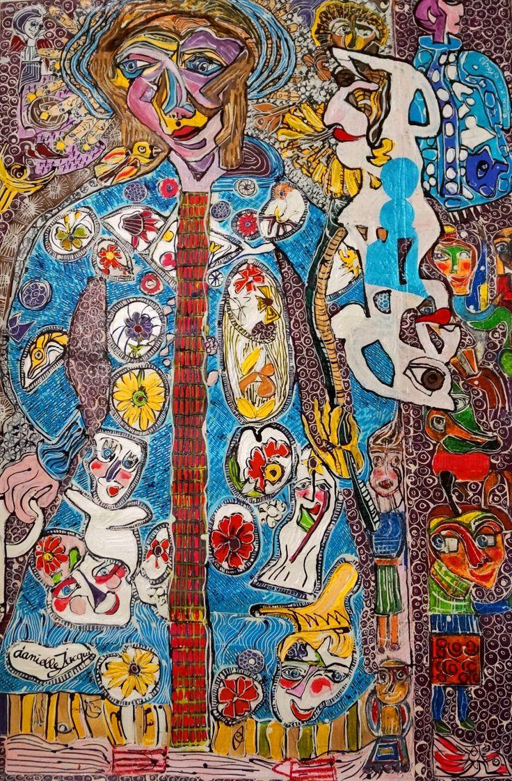 """Danielle Jacqui, """"La peinture du manteau de Jeannette"""", 120x82, acrylique/acrylic, 2016 - notre pièce phare pour Outsider Art Fair New York 2017 !  One of our key artworks for Outsider Art Fair New York 2017! #OAFNY17 #Jacqui #Polysémie"""
