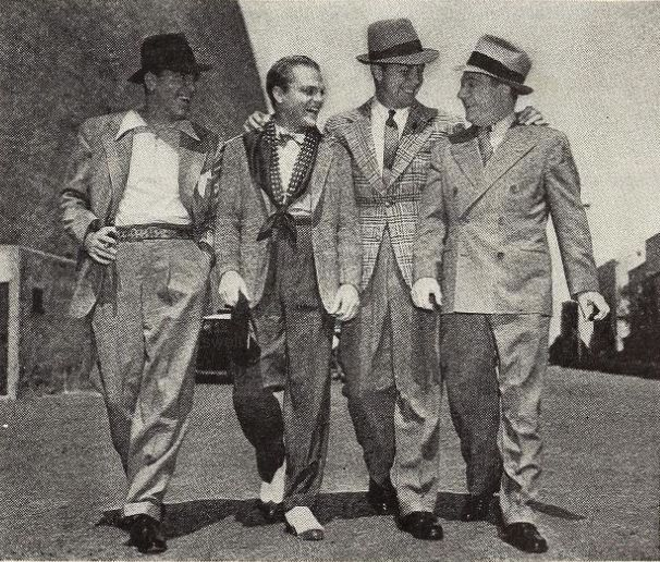 James Cagney with Pat O'Brien, Dick Powell, and Frank McHugh on the WB lot during production of Boy Meets Girl