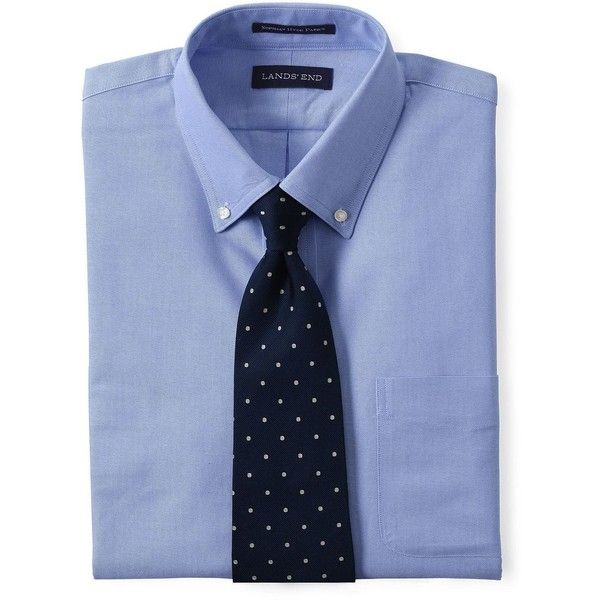 Lands' End Men's Tall Tailored Fit Supima Oxford Dress Shirt - Hyde... ($55) ❤ liked on Polyvore featuring men's fashion, men's clothing, men's shirts, men's dress shirts, blue, mens blue shirt, lands end mens dress shirts, mens tailored shirts, mens extra long t shirts and mens blue oxford shirt