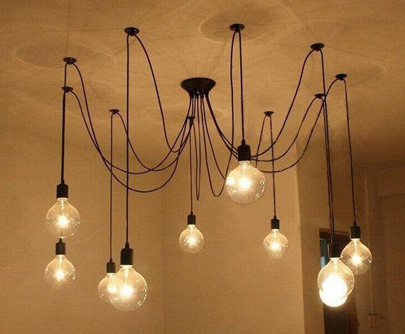 Pendant Chandelier - Modern lighting Industrial Chandelier. Black Hanging Pendants