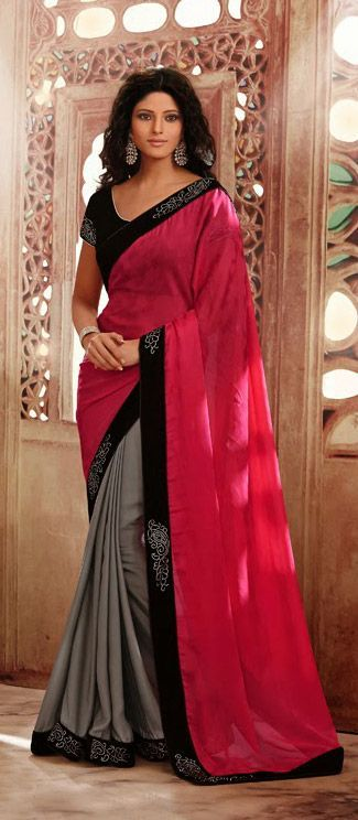 USD 111.98 Pink and Silver Half n Half Party Wear Saree 35514 http://snapdeal.com/products/women-apparel-sarees?sort=plth&utm_source=aff_prog&utm_campaign=afts&offer_id=17&aff_id=25514