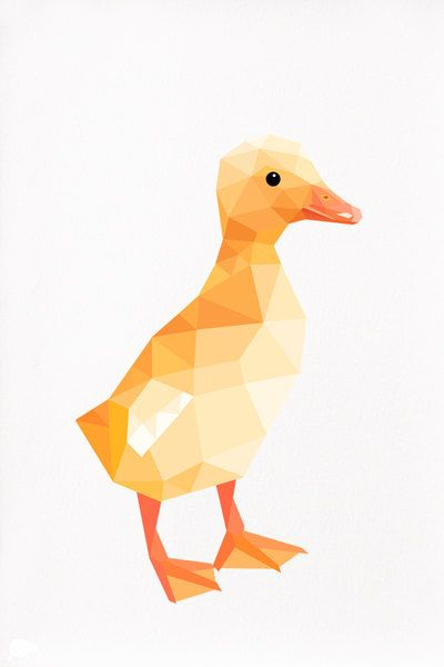 Duckling Geometric illustration by tinykiwiprints