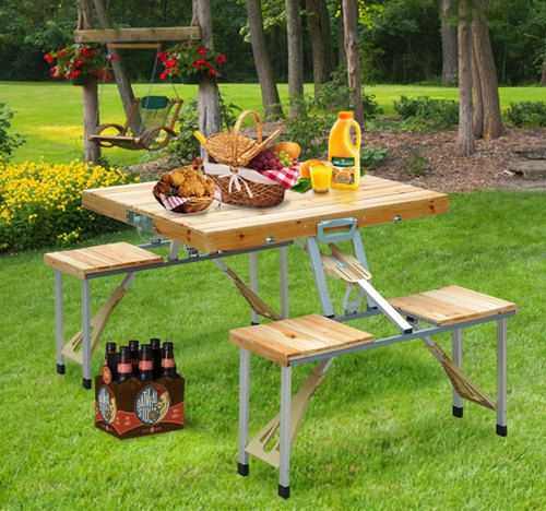 19 Best Images About Camping On Pinterest: Portable Folding Camping Wooden Picnic Table With Case
