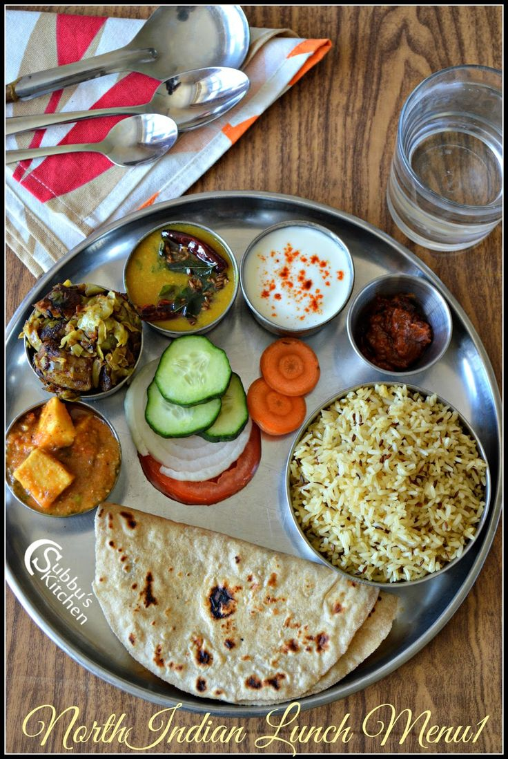 North Indian Lunch Menu 1 - Chapati, Dal Tadka, Mutter Paneer, Aloo PattaGobhi Curry, Jeera Rice, Curd, Salad and Pickle | Subbus Kitchen
