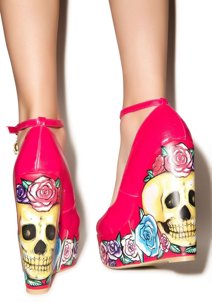 Iron Fist Calavera Rose Wedges   Dolls Kill - AHHHHHHHHHH!!!!!!!!!!!!! <3 <3 <3 <3