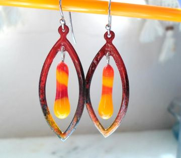 Bicolor Enamel Earrings are made of enamel copper teardrop hoops and handmade lampwork glass headpins on the same torch making them unique handmade jewelry