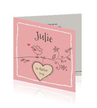 Hip retro geboortekaartje voor een meisje - met vogel en hart