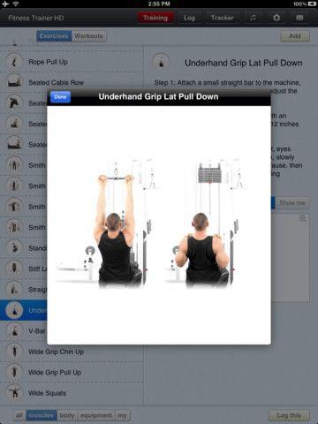 Fitness Trainer HD koster 13 kr og kan bruges til at træne forskellige muskelgrupper efter.