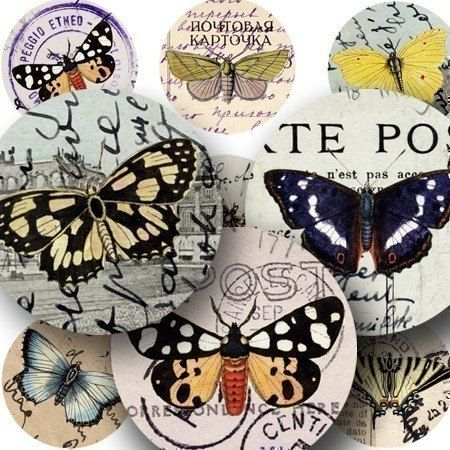 125-year-old butterflies meet 100-year-old postcards from Italy, France, and Germany in tons of 1 inch circles. #Printables 315 by piddix.