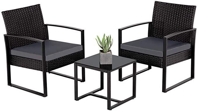 Amazon Com Yaheetech 3 Pieces Patio Furniture Sets Indoor Outdoor Wicker Modern Bistro Set Rattan In 2020 Patio Furniture Sets Outdoor Chairs Modern Outdoor Furniture
